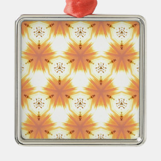 Cool Yellow Orange Bursting Seamless Pattern Silver-Colored Square Ornament
