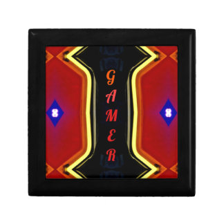 Cool Yellow Red 'Gamer' Artistic Design Keepsake Box