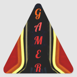 Cool Yellow Red 'Gamer' Artistic Design Triangle Sticker