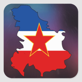 Cool Yugoslavia Flag Map Square Sticker