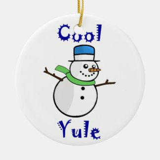 Cool Yule Snowman in Blue Top Hat Ceramic Ornament