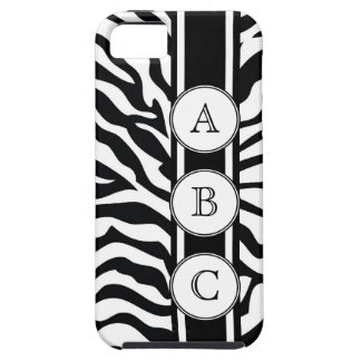 Cool Zebra Print Personalized with 3 Initials iPhone 5 Case