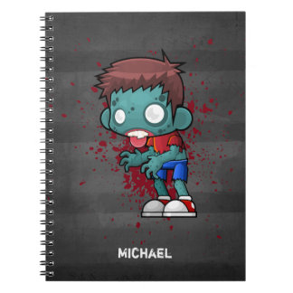 Cool Zombie Dude with Blood / Paint Splatter Notebook