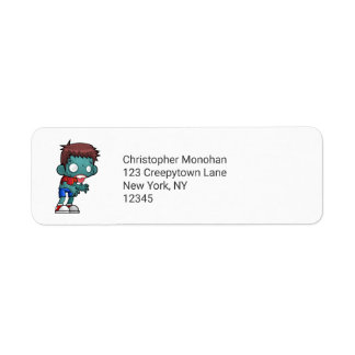 Cool Zombie Guy Seeking Brains Return Address Label