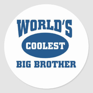 Coolest big brother round stickers