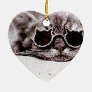 Coolest Cat alive - heart-shaped ceramic Ornament