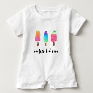 Coolest Kid Ever Colorful Watercolor Popsicles Baby Romper