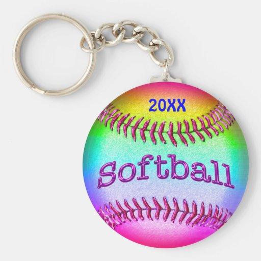Coolest Rainbow TEAM Softball Keychains with YEAR