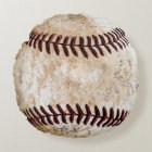 Coolest Round Stone-Look Vintage Baseball Pillows