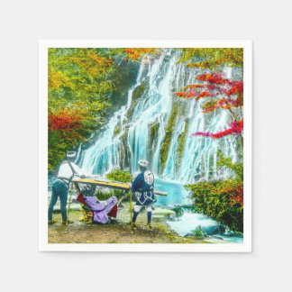 Coolies and a Geisha Vintage Old Japan Waterfalls Disposable Napkins