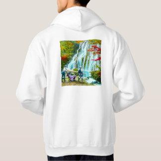 Coolies and a Geisha Vintage Old Japan Waterfalls Hoodie
