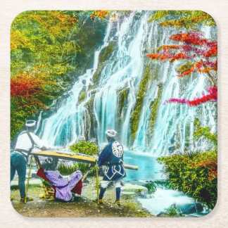 Coolies and a Geisha Vintage Old Japan Waterfalls Square Paper Coaster