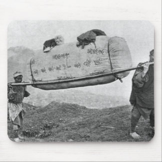 Coolies carrying cotton, 1901 (b/w photo) mouse pad