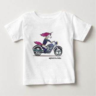 Coolly unicorn on motorcycle - bang-hard unicorn baby T-Shirt