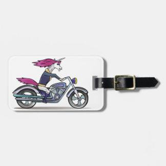 Coolly unicorn on motorcycle - bang-hard unicorn luggage tag