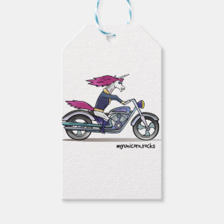 Coolly unicorn on motorcycle - bang-hard unicorn pack of gift tags