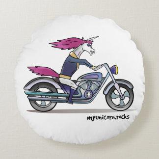 Coolly unicorn on motorcycle - bang-hard unicorn round pillow