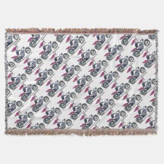 Coolly unicorn on motorcycle - bang-hard unicorn throw blanket