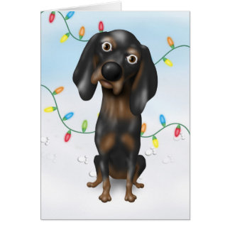 Coonhound (Black and Tan) Christmas Greeting Card