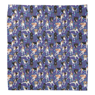 Coonhound Blue Floral  Bandana