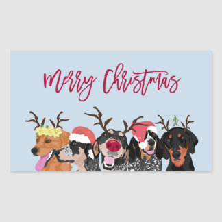 Coonhound Heads Merry Christmas Sticker