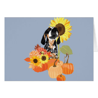 Coonhound in pumpkin patch card