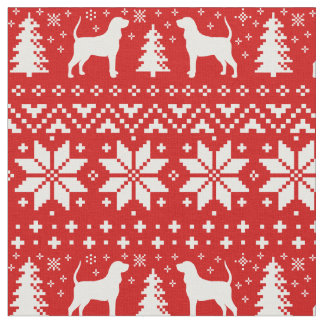 Coonhound Silhouettes Christmas Pattern Red Fabric