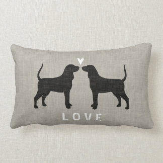 Coonhound Silhouettes with Heart and Text Lumbar Pillow
