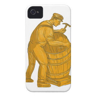 Cooper Making Wooden Barrel Drawing Case-Mate iPhone 4 Cases