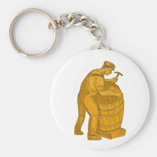 Cooper Making Wooden Barrel Drawing Keychain