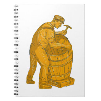 Cooper Making Wooden Barrel Drawing Notebook