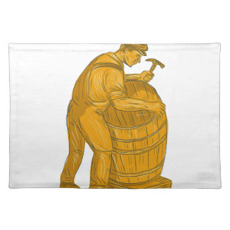 Cooper Making Wooden Barrel Drawing Placemat