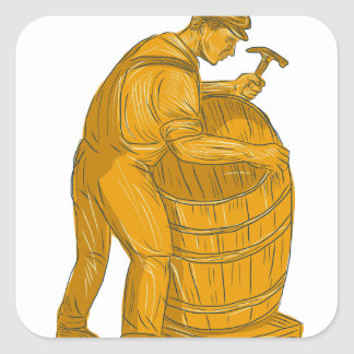 Cooper Making Wooden Barrel Drawing Square Sticker