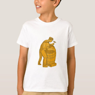 Cooper Making Wooden Barrel Drawing T-Shirt