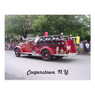Cooperstown, N.Y.  Retired Fire  Truck Postcard