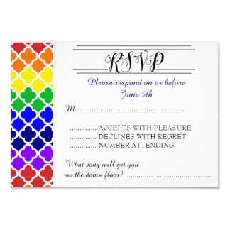 Coordinating Rainbow Quatrefoil Wedding RSVP Card