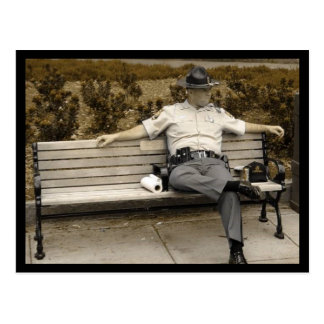 Cop on Bench Postcard
