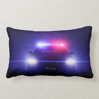 Cop  Police Car With Full Lights Lumbar Pillow