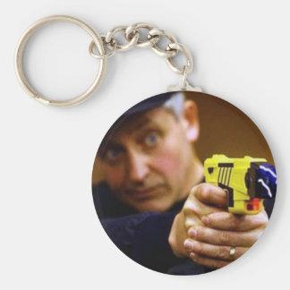 Cop With A Taser Gun Basic Round Button Keychain