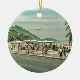Copacabana Sidewalk Rio de Janeiro Brazil Ceramic Ornament
