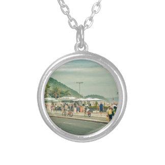 Copacabana Sidewalk Rio de Janeiro Brazil Silver Plated Necklace