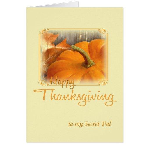 Copain de secret de bon thanksgiving cartes de vœux