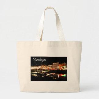 Copenhagen at night large tote bag