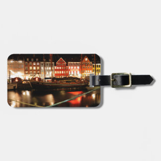 Copenhagen at night luggage tag