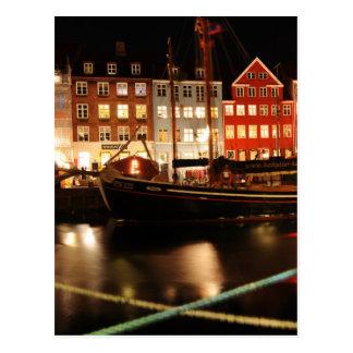 Copenhagen at night postcard
