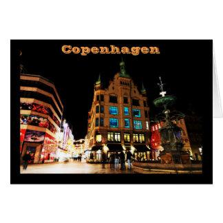 Copenhagen, Denmark at night Card