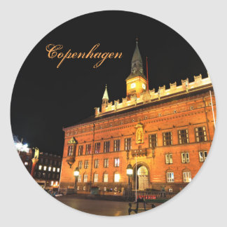 Copenhagen, Denmark at night Classic Round Sticker