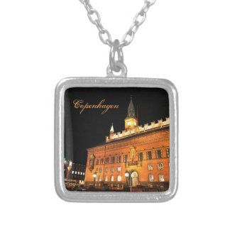 Copenhagen, Denmark at night Silver Plated Necklace