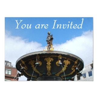 "Copenhagen Denmark, Caritas Well Fountain 4.5"" X 6.25"" Invitation Card"