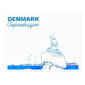 Copenhagen Denmark Little Mermaid Elegant Sketch Postcard